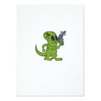 Dinosaurio extranjero que lleva a cabo el dibujo anuncio
