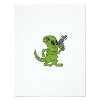 Dinosaurio extranjero que lleva a cabo el dibujo invitacion personal