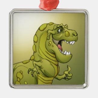 ¡Dinosaurio feliz del dibujo animado que da los Adorno Navideño Cuadrado De Metal