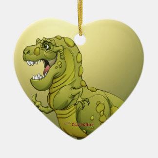 ¡Dinosaurio feliz del dibujo animado que da los Adorno Navideño De Cerámica En Forma De Corazón