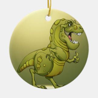 ¡Dinosaurio feliz del dibujo animado que da los Adorno Navideño Redondo De Cerámica