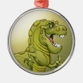 ¡Dinosaurio feliz del dibujo animado que da los Adorno Navideño Redondo De Metal