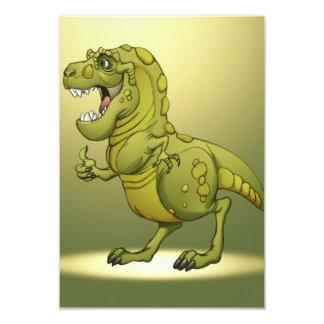 """¡Dinosaurio feliz del dibujo animado que da los Invitación 3.5"""" X 5"""""""
