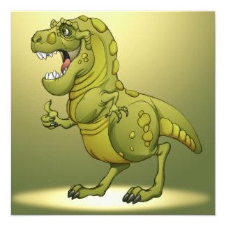 """¡Dinosaurio feliz del dibujo animado que da los Invitación 5.25"""" X 5.25"""""""