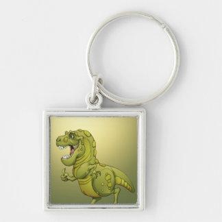 ¡Dinosaurio feliz del dibujo animado que da los Llavero Cuadrado Plateado
