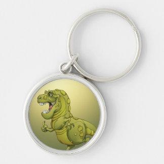 ¡Dinosaurio feliz del dibujo animado que da los Llavero Redondo Plateado
