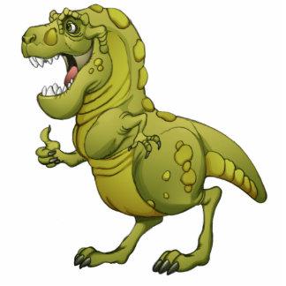 ¡Dinosaurio feliz del dibujo animado que da los pu Fotoescultura Vertical