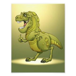 ¡Dinosaurio feliz del dibujo animado que da los pu Fotografías