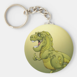 ¡Dinosaurio feliz del dibujo animado que da los pu Llavero Redondo Tipo Pin