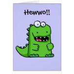 Dinosaurio feliz verde lindo felicitación