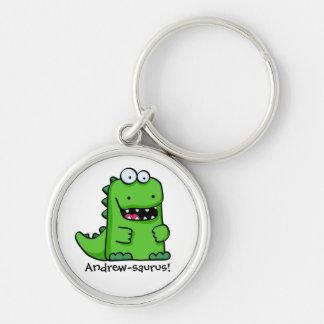 Dinosaurio feliz verde lindo llaveros