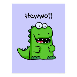 Dinosaurio feliz verde lindo postal