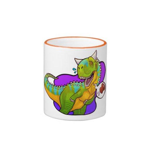 Dinosaurio hambriento del carnotaurus tazas