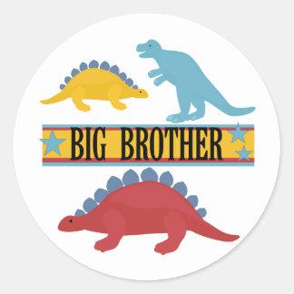 Dinosaurio hermano mayor pegatina redonda