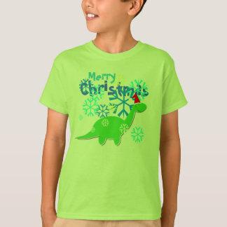 Dinosaurio lindo de las Felices Navidad Playera