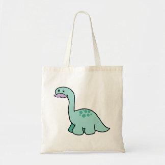 Dinosaurio lindo del bigote bolsa tela barata