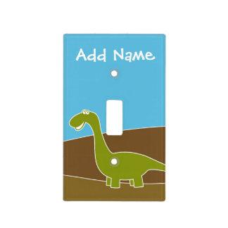Dinosaurio lindo del dibujo animado con nombre de cubierta para interruptor