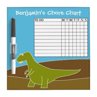 Dinosaurio lindo del dibujo animado de la carta de pizarras