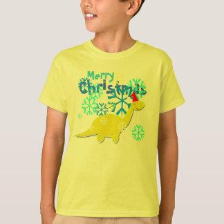 Dinosaurio lindo del navidad playera
