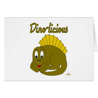 Dinosaurio lindo Dino-licious del amarillo del beb Tarjeton