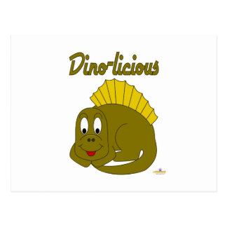 Dinosaurio lindo Dino-licious del amarillo del beb Tarjeta Postal