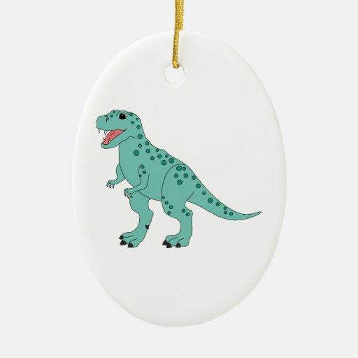 Dinosaurio lindo manchado verde de T-Rex Ornamentos Para Reyes Magos