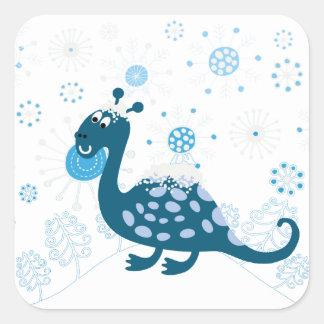¡Dinosaurio lindo que juega en la nieve! Pegatina Cuadrada