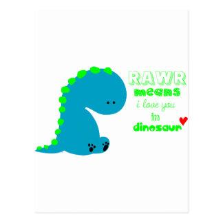 Dinosaurio lindo RAWR Tarjeta Postal