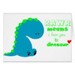 Dinosaurio lindo RAWR Tarjetón