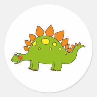 Dinosaurio lindo - stegosaurus pegatina redonda