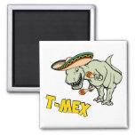 Dinosaurio mexicano del Tyrannosaurus de T-Mex Imán Cuadrado