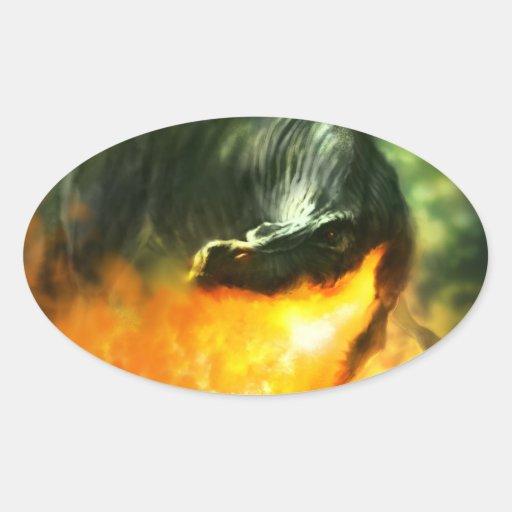 Dinosaurio o dragón de Fuego-Respiración de Pegatina Ovalada