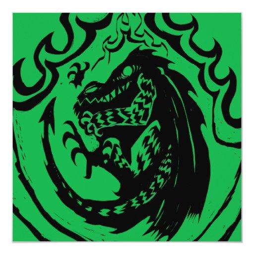 Dinosaurio o dragón llameante por el dulce del NIC Invitación 13,3 Cm X 13,3cm