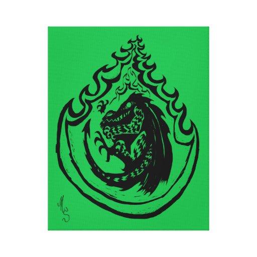 Dinosaurio o dragón llameante por el dulce del NIC Impresión En Lona