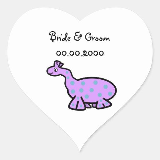 Dinosaurio púrpura con los puntos azules pegatina en forma de corazón