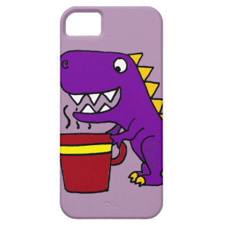 Dinosaurio púrpura divertido de T-Rex con la taza iPhone 5 Carcasas