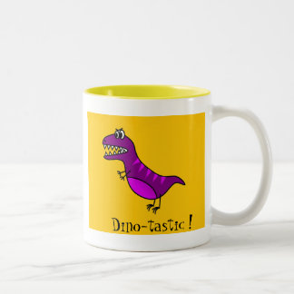 Dinosaurio púrpura enojado de Dino-tastic del dibu Tazas De Café
