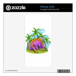 Dinosaurio púrpura que se coloca en la tierra skin para el iPhone 4