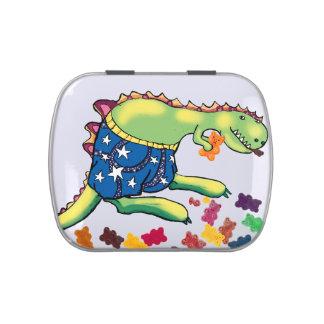 dinosaurio que come los polos latas de caramelos