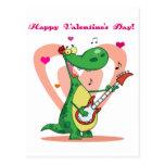 Dinosaurio que toca la guitarra postal