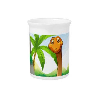 Dinosaurio que vive en la selva jarras para bebida