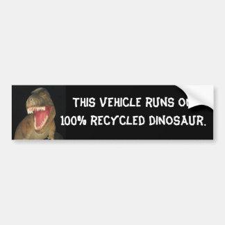 Dinosaurio reciclado pegatina de parachoque