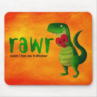 Dinosaurio romántico de RAWR T-rex Alfombrillas De Ratones