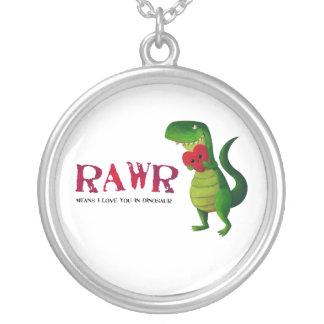 Dinosaurio romántico de RAWR T-rex Colgante Redondo