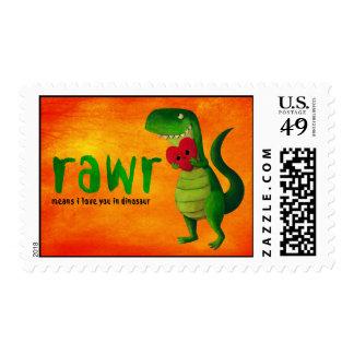 Dinosaurio romántico de RAWR T-rex Estampillas