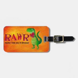 Dinosaurio romántico de RAWR T-rex Etiquetas Para Maletas