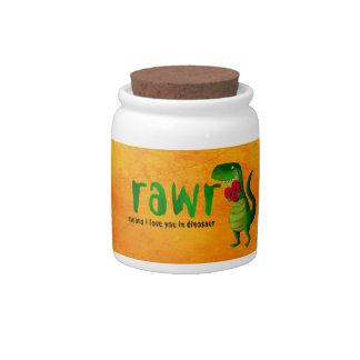 Dinosaurio romántico de RAWR T-rex Jarras Para Caramelos
