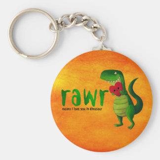 Dinosaurio romántico de RAWR T-rex Llavero Redondo Tipo Pin