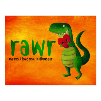 Dinosaurio romántico de RAWR T-rex Postal