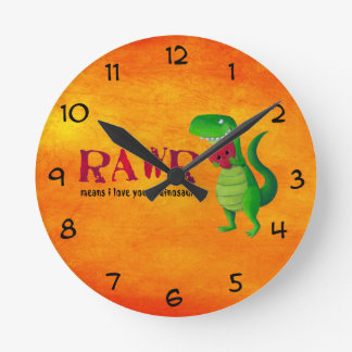 Dinosaurio romántico de RAWR T-rex Reloj Redondo Mediano